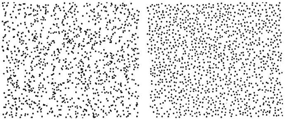 One pattern is random, the other is machine-generated
